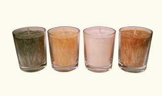 4 Pineapple Coconut Lime Palm Wax Votive Candles with Holders